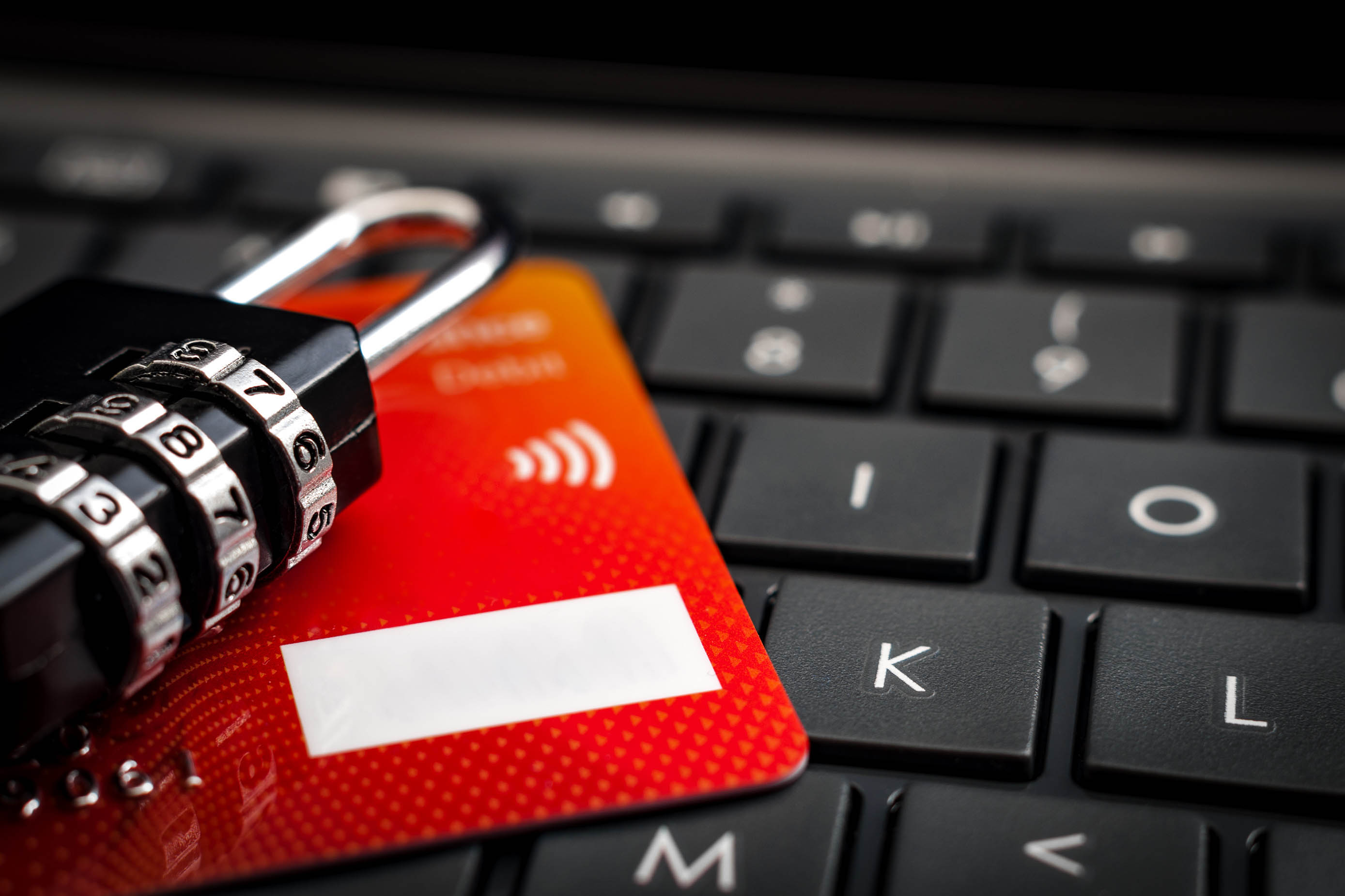 Fraud prevention stock photo lock credit card keyboard